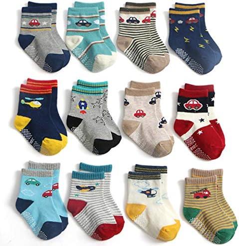 Yafane 12 Paar Baby Jungen Socken ABS Antirutsch Anti-Rutsch Kleinkinder Babysocken