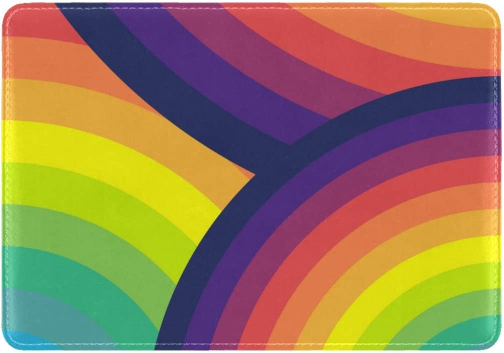 JiaoL Circles Colorful Rainbow Leather Passport Holder Cover Case Travel One Pocket