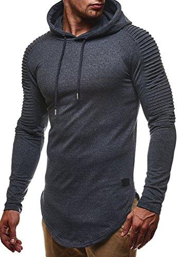 Leif Nelson Herren Kapuzenpullover Slim Fit Baumwolle-Anteil Moderner weißer Herren Hoodie-Sweatshirt-Pulli Langarm Herren schwarzer Pullover-Shirt mit Kapuze LN6369