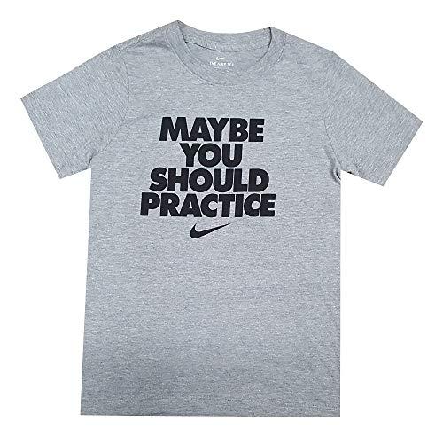 Nike Boys Maybe You Should Practice T-Shirt Grey/Black AT2835-063 (Medium) ()