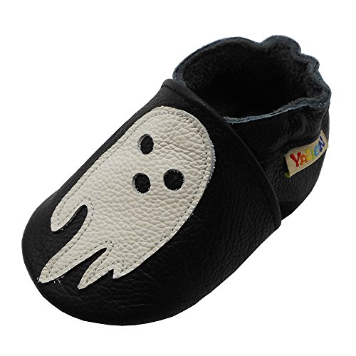 Devil Shoe - Yalion Baby Leather Shoes with Suede Soft Sole Infant Toddler First Step Moccasins Slip-on Crib Shoes(Black & Little Devil,0-6 Months)