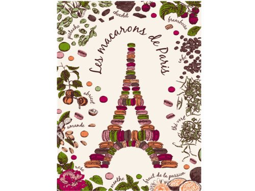 Torchons & Bouchons, Les Macarons de Paris (Eiffel Tower) Printed Kitchen / Tea Towel, 19