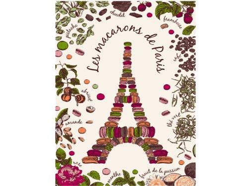 Printed Tea Towel - Torchons & Bouchons, Les Macarons de Paris (Eiffel Tower) Printed Kitchen / Tea Towel, 19