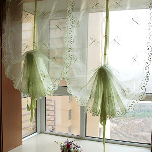 Best Dragonfly Embroidery Polyester Tie-Up Window Shade Balcony Window Drape Panel Scarf Valances Curtain Light Green 33''W x 57''H by Comforbed (Image #2)