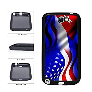 Cuba and USA Mixed Flag TPU RUBBER SILICONE Phone Case Back Cover Samsung Galaxy Note II 2 N7100