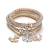 PORPI-JOJO 3PCS Gold/Silver/Rose Gold Tone Corn Chain Stretch Bracelets Anchors Beatles Charms Multilayer Bracelet for Women 3 Style (Anchor)