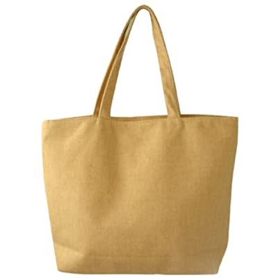Simple Canvas Tote Shoulder Bag with Zipper