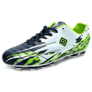 Dream Pairs 151027 Men's Sport Flexible Athletic Lace Up Light Weight Outdoor Cleats Football Soccer Shoes WHT-NAVY-N.GREEN-SZ-12