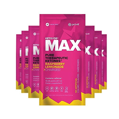 KETO//OS MAX Raspberry Lemonade CHARGED N8tive Series - BHB Beta Hydroxybutyrates Exogenous Ketones Supplements for Fat Loss, Workout Energy Boost and Weight Management through Fast Ketosis, 7 Sachets by Pruvit