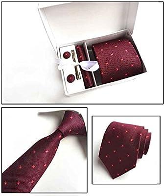 Mon5f Home Corbata de Color borgoña para Hombres Traje con Corbata ...