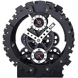 KikerTech Modern Mechanical Chronograph Alarm Clock, Novelty Skeleton Design, Ultra-Quiet Gear Changing Clock (Black)