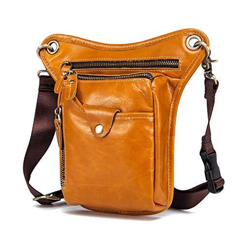 Le'aokuu Mens Genuine Leather Motorcycle Waist Pack Messenger Shoulder Drop Leg Bag (211-5 Light Brown 8) ()