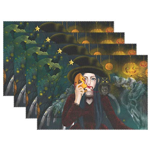 Mr.Lucien Placemats Set of 6 Halloween Witch Girl Wood Magic Pumpkin Lantern Mask Bat Moon Firefly Non-Slip Stain Heat Resistant Washable Fabric Placemats for Dining Room Kitchen Table Decor 202260 ()