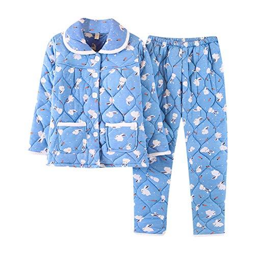 M.Givefes Women Pajama Set Warm Cotton Quilted Pyjamas Suit Nightwear 2 Pieces Sleepwear