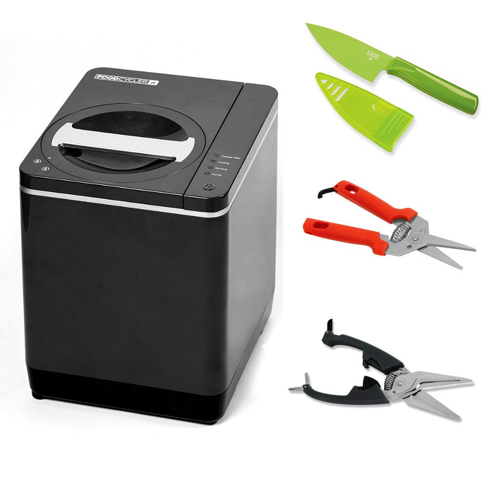 Food Cycler Platinum Indoor Food Recycler and Kitchen Compost Container Includes Shears, Snips and Knife