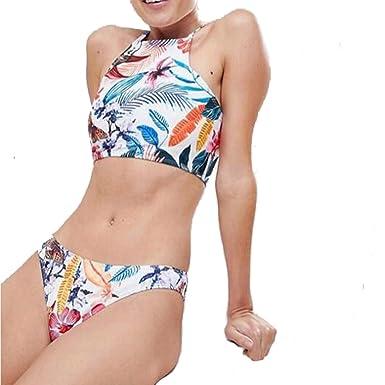 Bikini de Dos Piezas,Internet Bikini Hawaiano con Estampado de Hojas para Mujer, Chaleco