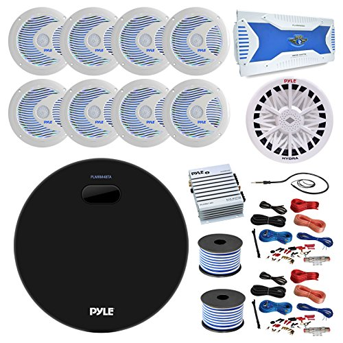 36' - 42' Boat: Pyle Marine Bluetooth MP3 USB AUX Amp Receiver, 8X 6.5'' Speakers w/LED Lights, 8 Channel Amp, 500 Watt 4 Ohm Sub, 2 Channel Amp, 2X 8-G Amp Install Kit, 18-G 100 FT Wire, Antenna