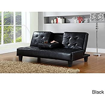 hodedah pu upholstered armless click clack sofa bed with dropdown cupholder in