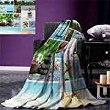 Spa Digital Printing Blanket Collage of Spa Composition with Tropical Sandy Beach Ocean Rock Views Relax Rest Image Summer Quilt Comforter 80''x60'' Multicolor