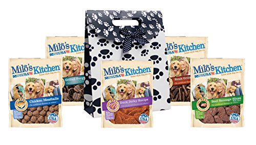 Cheap Milo's Kitchen Dog Treats, Variety Pack of 5, (Duck Jerky, Chicken Meatballs, Grilled Burger Bites With Sweet Potato and Bacon, Beef Sausage Slices with Rice, Steak Grillers), Dog Treat Gift Bag Set