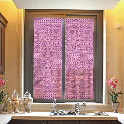 Glass Crackle Vintage (Mauve 3D No Glue Static Decorative Privacy Window Films, Abstract Vintage Ethnic Tribal Pattern Cultural Ornamental Oriental Boho Artwork Decorative,17.7