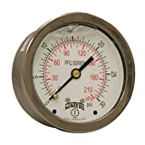 """Winters PFQ Series Stainless Steel 304 Dual Scale Liquid Filled Pressure Gauge with Brass Internals, 0-30 psi/kpa,2-1/2"""" Dial Display, -1.5% Accuracy, 1/4"""" NPT Center Back Mount"""