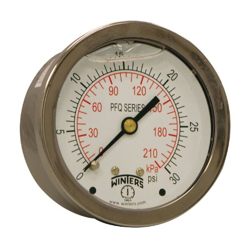 "Winters PFQ Series Stainless Steel 304 Dual Scale Liquid Filled Pressure Gauge with Brass Internals, 0-30 psi/kpa,2-1/2"" Dial Display, +/-1.5% Accuracy, 1/4"" NPT Center Back Mount from Winters Instruments"