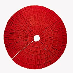 MrXLWhome Christmas Tree Skirt Red 48 inch Round, Holiday Tree Decorations, Burlap Tree Skirts red Ruffle