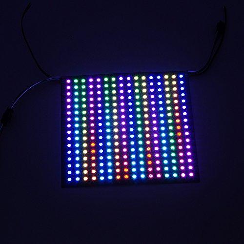 Color Led Panel (BTF-LIGHTING 0.48ft0.48ft Pixel 256 Pixels WS2812B Digital Flexible LED Panel Individually addressable Full Dream Color DC5V)