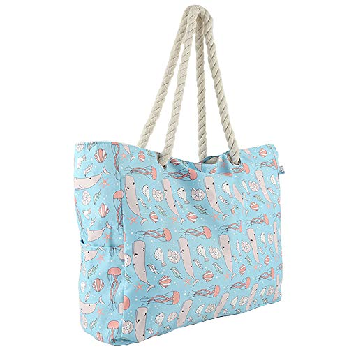 Luvier Extra Large Waterproof Beach Tote Bags For Women With Rope Handle And Top Zipper, Oversized Portable Travel Beach Bag Tote Pool Bag