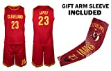 Fan Kitbag James Jersey Kids Lebron Basketball Red James Jersey & Shorts Youth Gift Set ✓ Basketball Compression Shooter Arm Sleeve ✓ Premium Quality (YL 10-13 Years, James Jersey Gift Set)