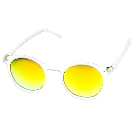 7f523a12f2987 Amazon.com  Retro Fashion P3 Frame Color Lens Round Horn Rimmed Sunglasses  (Frost Sun)  Clothing