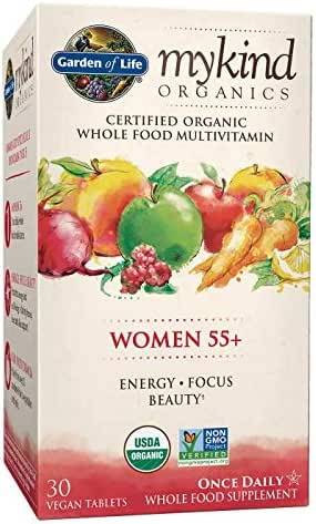 Garden of Life My Kind Organic Women 55+ Multivitamin, Energy, Focus, Beauty, 30 Tablets
