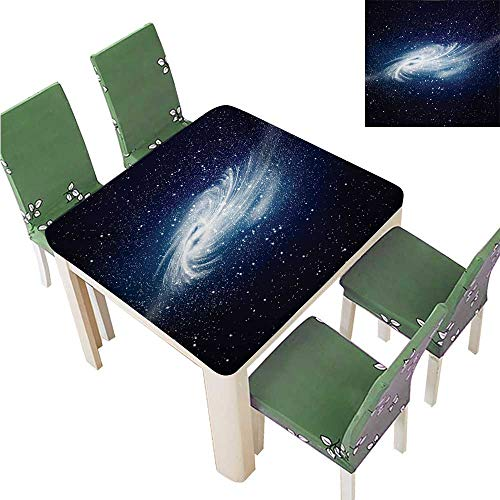 Damask Jacquard Tablecloth,Spiral Galaxy Image Space and Stars Celestial Cosmos Expanse Universe Modern Print Waterproof Spillproof Tablecloth,55W x 55L Inches(Elastic Edge)