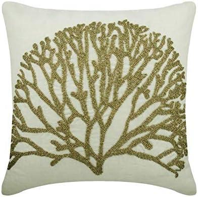 The HomeCentric Decorativo Marfil y Oro Cojin Jardin, 50x50 cm Lino Cojin para Silla, Funda de Cojín con Corales & Criaturas del mar Cojin, Estilo de Playa Cojin - Gold Forest: Amazon.es: