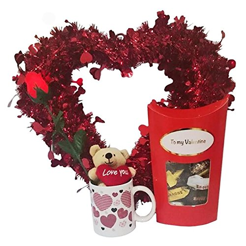 Valentines Gift Set with Tinsel Red Heart, Light Up Rose, Teddy Bear in Mug and Toblerone Chocolates by Premier Life Store ()