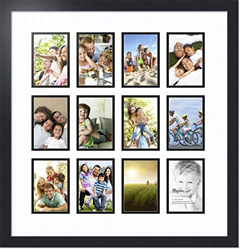 ArtToFrames Collage Photo Frame Double Mat with 12 - 4x6 Openings and Satin Black Frame -