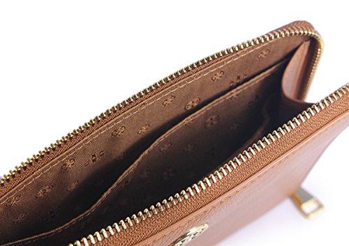 Tory Burch Landon Negro Pebbled Cuero Grande L-Zip Wristlet Clutch Corteza de árbol