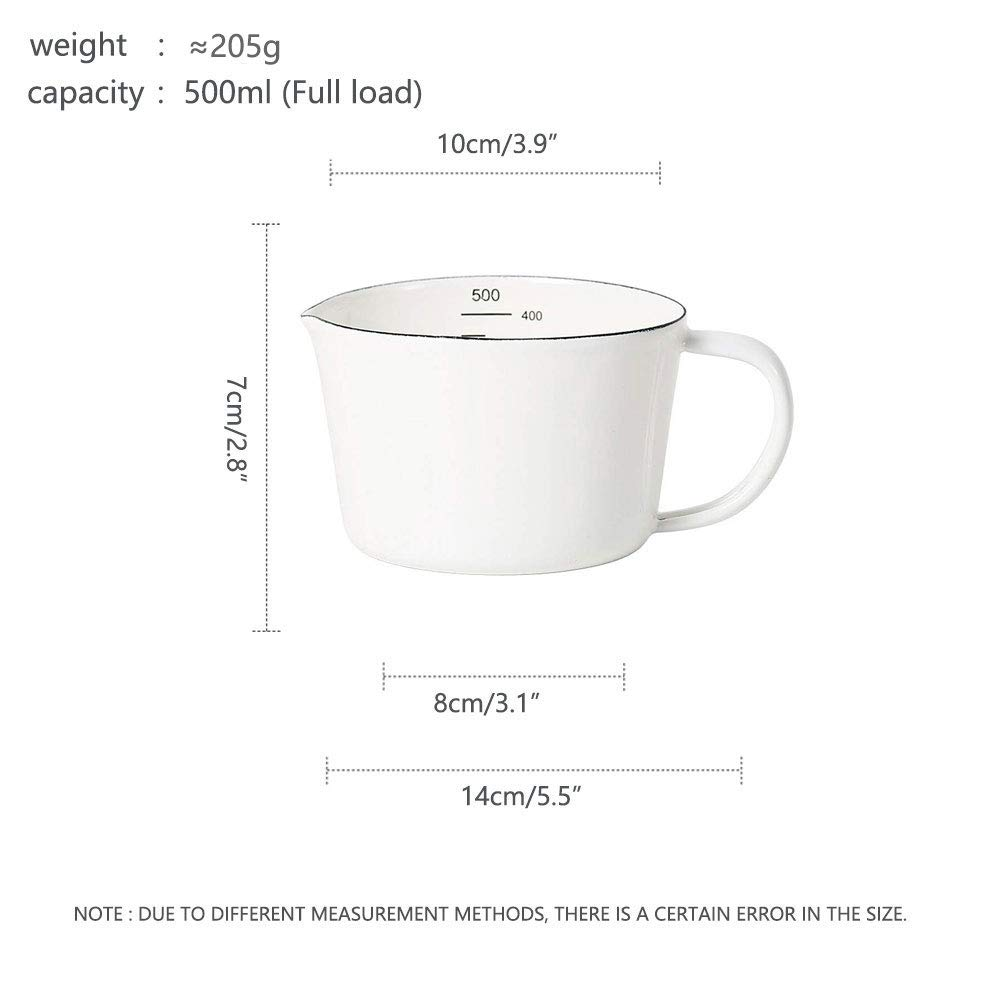 0.5 Liter HARVESTFLY Enamel Drinking Cup Water Cup Baking Cup Measuring Cup Kitchen Tool