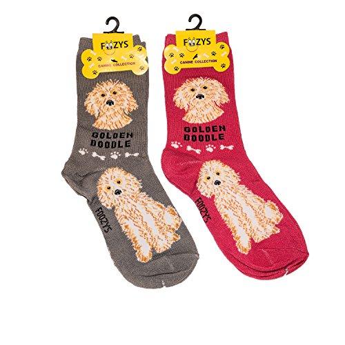 Foozys Unisex Crew Socks Canine Collection (Golden Doodle)