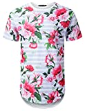 URBANTOPS Mens Hipster Hip Hop Striped Floral Longline T-Shirt White, M