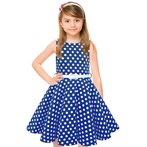 Girls 50s Sleeveless Vintage Girls Dresses Polka Dot Swing Rockabilly Summer Dresses for Party Special Occasion]()