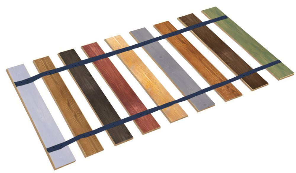 Queen Size Stained Wood Bed Slats with Blue Strapping - Cut to The Width of Your Choice - Custom Made in The U.S.A.! by The Furniture Cove