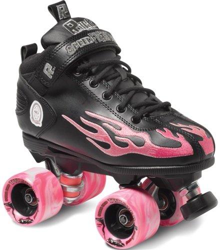 (Rock Flame Skate Package Black with Pink Flame sz Mens 7 / Ladies 8)