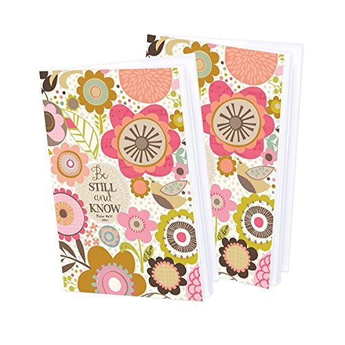 Set of 2- Pink and Brown Flowers Mini-Journal blank notebook with scripture - Flowers Mini Journals