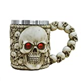 Halloween Mug Skull Coffee Tea Cup Large Portable Leak Proof Drinking Glass 304 Stainless Steel Liner