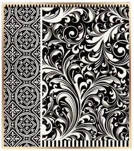Michel Design Works 12-Count Bridge Score Card Tallies, Black Florentine