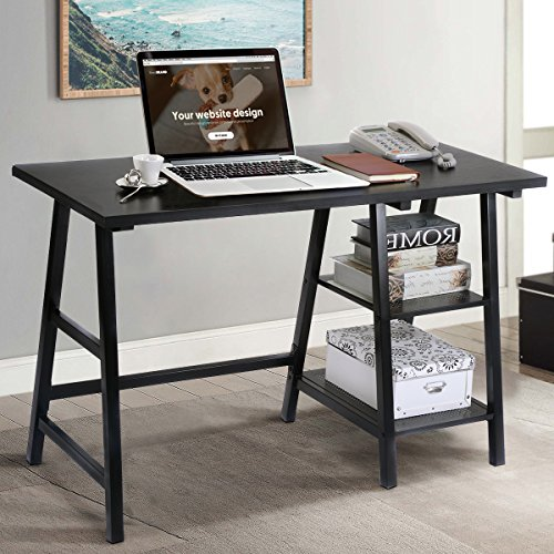 TANGKULA Computer Writing Study Trestle Desk Modern Vintage Home Office Furniture - Table Trestle Wood