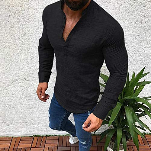 Price comparison product image Most Wished!!! Teresamoon Men Linen Long Sleeve V Neck Button Up Shirts Male Casual Business Fit Blouse