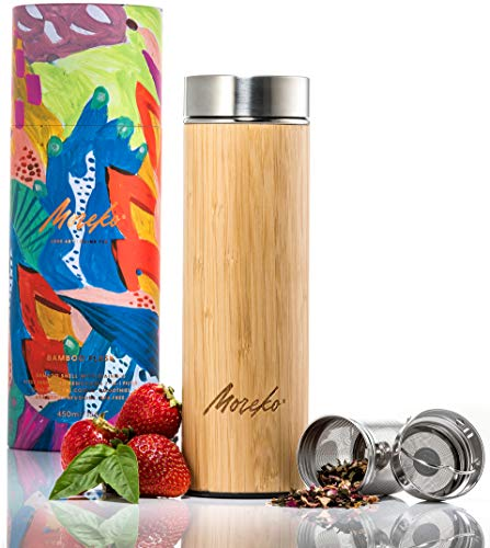 Travel Tumbler and Mug with Tea Infuser, Double Wall Stainless Steel, 15 oz. - Water Bottle with Wide Mouth, Leakproof Lid, Insulated Sleeve - Outdoor Thermos Drinkware for Women, Kids, Moms